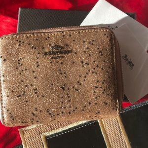 Coach Glitter Collection Gold sm zippered wallet